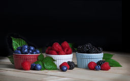 Blueberries, Raspberries and Blackberries Stock Images