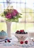 Blueberries, Raspberries In Bowl Royalty Free Stock Images