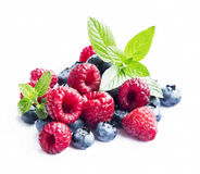 Blueberries and Raspberries with Mint Isolated Stock Photography