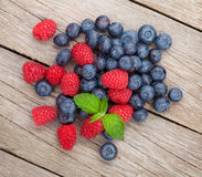 Blueberries and raspberries Stock Photography