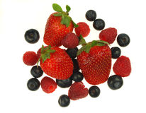 Blueberries,raspberries and strawberries Royalty Free Stock Photo