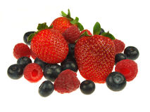 Blueberries,raspberries and strawberries Royalty Free Stock Photos