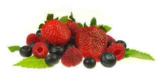 Blueberries,raspberries and strawberries Stock Photos