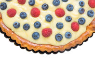 Blueberries and raspberries tart, isolated Stock Photography
