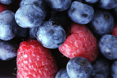 Blueberries and Raspberries together. Raspberries and Blueberries together macro view stock photography