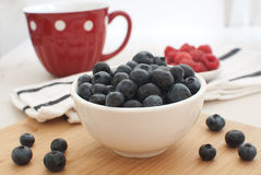 Blueberries and raspberries top view Stock Photography