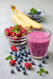 Blueberries raspberry banana smoothie Royalty Free Stock Photos