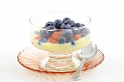 Blueberries, red grapefruit and yogurt Royalty Free Stock Photography