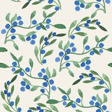 Blueberries. Seamless pattern with  blueberries. watercolor floral background Stock Images