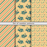 Blueberries, a set of seamless patterns, Royalty Free Stock Photos