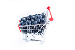 Blueberries in the shopping cart Royalty Free Stock Photos