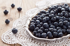 Blueberries. On a silver platter Royalty Free Stock Photography