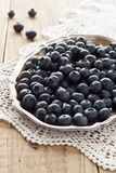 Blueberries. On a silver platter Royalty Free Stock Images