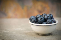 Blueberries in a Small Bowl. Ripe blueberries in a small ceramic bowl Royalty Free Stock Images