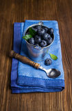 Blueberries in small bucket Royalty Free Stock Photography