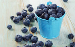 Blueberries in  small bucket on  wooden table Stock Photo