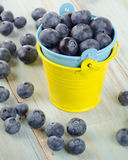 Blueberries in  small buckets on a wooden table. Royalty Free Stock Photo