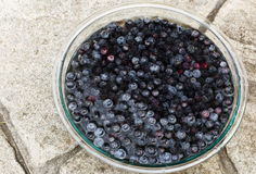 Blueberries Soaking in a glass bowl of water. Lots of Blueberries Soaking in a Large Glass Bowl of Water Royalty Free Stock Images