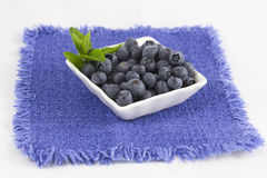 Blueberries. Some blueberries in a white cup on a blue doily Stock Photography
