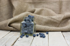 Blueberries spilt from a jar Royalty Free Stock Image