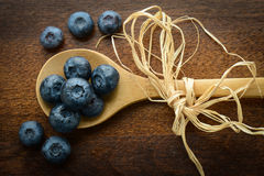 Blueberries on a Spoon Close Up Royalty Free Stock Photography