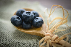 Blueberries on a Spoon Royalty Free Stock Image