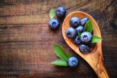 Blueberries in a spoon Stock Photos