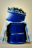 Blueberries in Stacked Blue Bowls Royalty Free Stock Image
