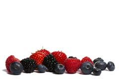 Blueberries, strawberries blackberries and raspber stock images