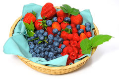 Blueberries, Strawberries and Raspberries Stock Images