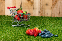 Blueberries and Strawberries in a shopping cart Stock Photography