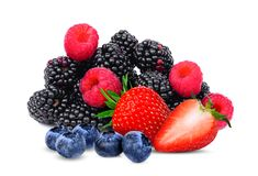 Blueberries,strawberry,raspberries and blackberries isolated royalty free stock photography