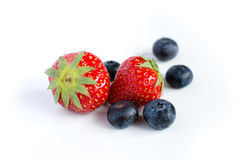 Blueberries and strawberry Stock Photos