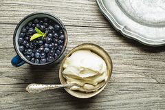 Blueberries with sweet cream served for dessert Royalty Free Stock Photography