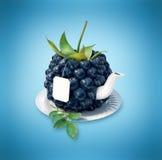 Blueberries tea cup. Healthy food. Blueberries drink Royalty Free Stock Image