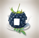 Blueberries tea cup Royalty Free Stock Images