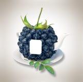 Blueberries tea cup. Healthy food. Blueberries drink Royalty Free Stock Images