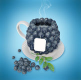 Blueberries tea cup Stock Photo
