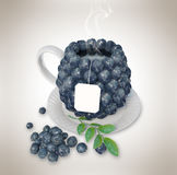 Blueberries tea cup Royalty Free Stock Photos