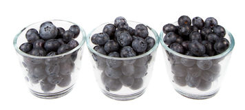 Blueberries in three glass jars Stock Photos