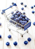 Blueberries in the trolley Stock Images