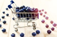 Blueberries in the trolley Stock Photography