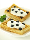 Blueberries waffles Royalty Free Stock Photos