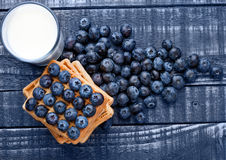 Blueberries and waffles on blue wood with milk glass Royalty Free Stock Photo