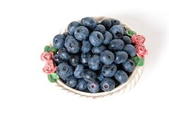 Blueberries in a White Bowl Stock Images