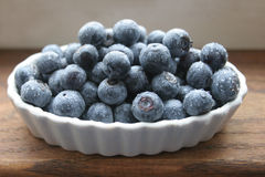 Blueberries in a White Bowl. On a wooden table royalty free stock photo