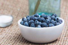 Blueberries. In a white bowl.  Blue jar and bowl of sugar are in background Royalty Free Stock Image