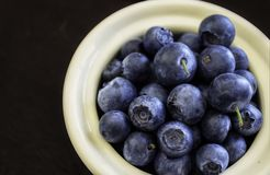 Blueberries in White Bowl. Blueberries in a white bowl on a dark wood surface table royalty free stock images