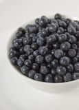 Blueberries in a white bowl on a white plate Stock Images