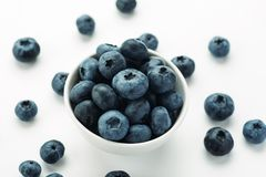 Blueberries in a white ceramic bowl, closeup shot.  stock photos